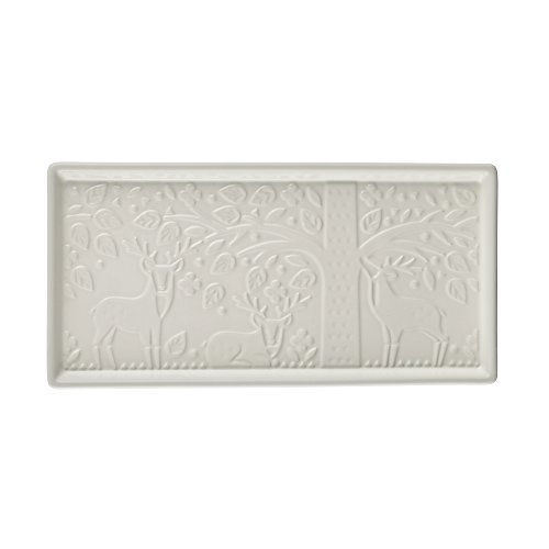 Mason Cash In the Forest 12 inch Serving Platter, Rectangular Chip-resistant Stoneware Dish for Charcuterie and Appetizers, Durable and Dishwasher Safe, Intricate Embossed Design, - Cream Platter White