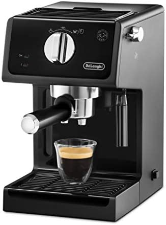 Machine à expresso De'Longhi ECP 31.21 | Porte-filtre avec finition aluminium | Buse de mousse de lait | Filtre pour 1 ou 2 tasses Espresso | Convient également pour les dosettes | Noir