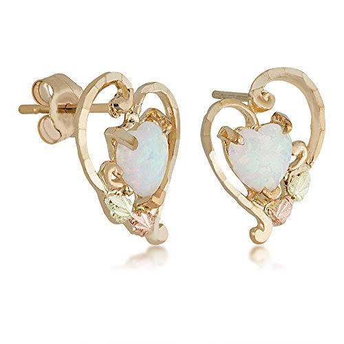 Heart Shaped Created Opal Earrings, 10k Yellow Gold, 12k Green and Rose Gold Black Hills Gold (Black Hills 10k Opal Ring)