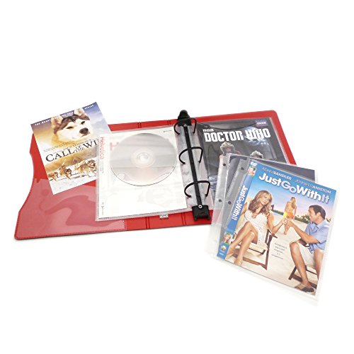 Keepfiling DVD Storage Binder Stores Up to 20 DVDs, CDs, with DVD Cover Art/Title Page (Red) (Dvd Case With Cover Page)