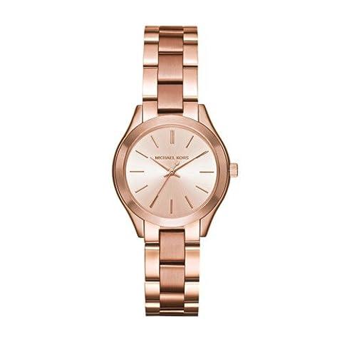 Michael Kors Women's Mini Slim Runway Rose Gold-Tone Watch MK3513 (Gold Tone Metal Watch)