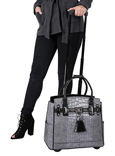 ''THE GREYSTONE'' Grey & Black Alligator Crocodile Rolling iPad Tablet or Laptop Tote Carryall Bag by JKM and Company