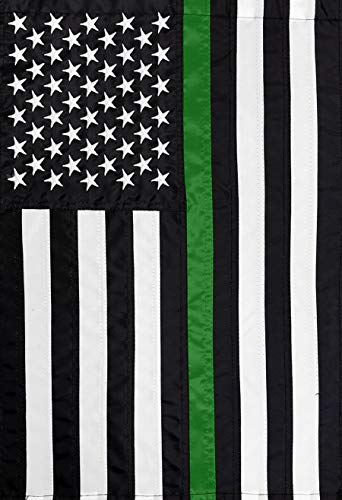 (Briarwood Lane Thin Green Line Embroidered Garden Flag Military Support 12.5