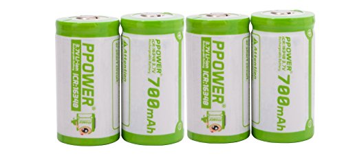 Ppower Pbe 4 X 700mah cr123a cr123 16340 Li-Ion Rechargeable Batteries (compatible and tested with Arlo Wireless, Reolink Argus, Keen, etc) CE Certificated by Ppower