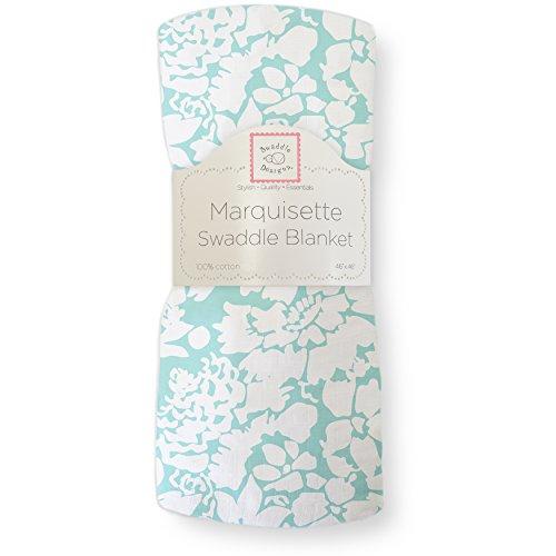 SwaddleDesigns Marquisette Swaddling Blanket, Premium Cotton Muslin, SeaCrystal Lush