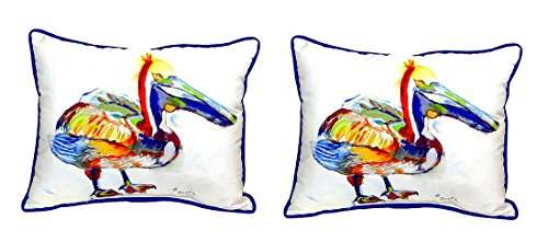 Pair of Betsy Drake Heathcliff Pelican Large Indoor/Outdoor Pillows 16 X 20 price