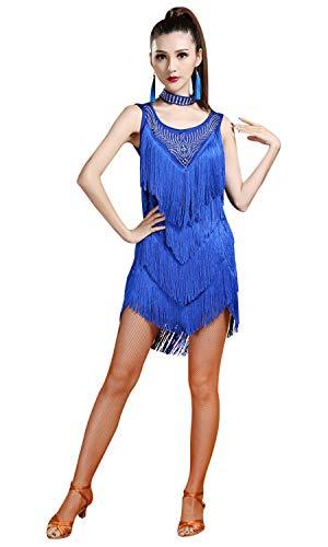 s Rhinestone Embellished Fringe Flapper Latin Dance Dress Medium Royal Blue ()