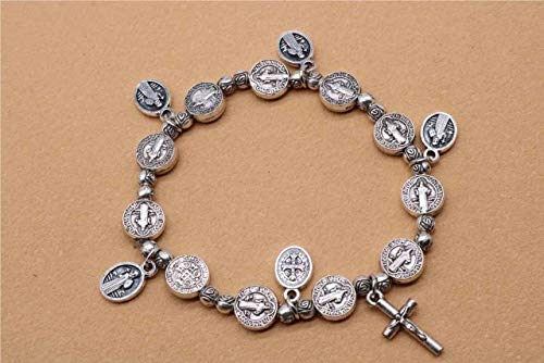 Gabcus Jesus Cross Bracelet, Jesus Rose Center Holy Mercy Icon Rose Bracelet, Religious Rosary Bracelet. - (Metal Color: S03802)