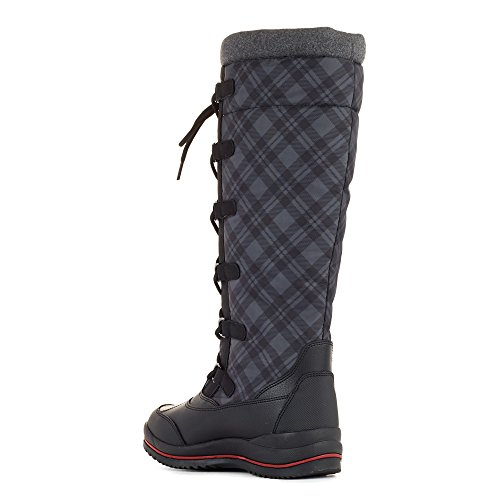 Womens Boot US Canuck On Pull 6 M Waterproof Plaid Cougar Blk PdXvP