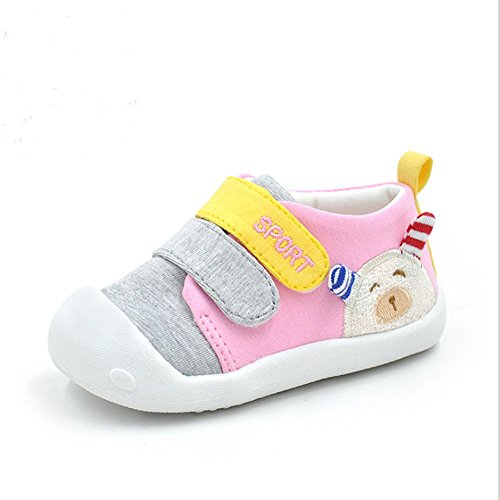 (Kuner Baby Girls Boys Cotton Breathable Rubber Sole Non-Slip Sneakers First Walkers Shoes (15(Inside length-12.1cm)(12-15months), Pink))