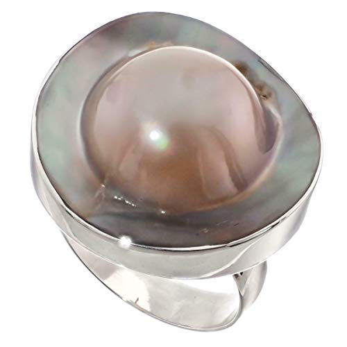 - Opulent 15/16'' MABE Blister Pearl in Shell 925 Sterling Silver US 9 Ring YE-1983