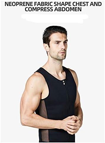 メンズベストはジムのためのおなかコントロールボディシェイパースリミングジッパーアンダーベースレイヤーコンプレッションシャツトップス