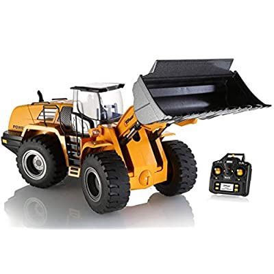 Top Race 10 Channel Full Functional Remote Control Front Loader Construction Tractor, Full Metal Bulldozer Toy Can Dig up to 3.5 Lbs, 1:14 Scale TR-213: Toys & Games