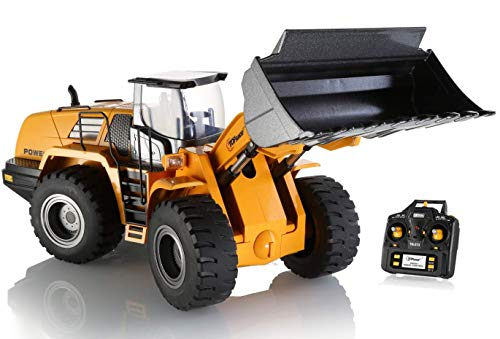 (Top Race 10 Channel Full Functional Remote Control Front Loader Construction Tractor, Full Metal Bulldozer Toy Can Dig up to 3.5 Lbs, 1:14 Scale TR-213)