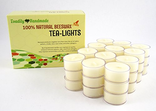 36 Hand Poured Beeswax Tea-Light Candles in IVORY – Plastic Cups  Chemical Free Cotton Wicks – 100% Beeswax Candles by Toadily Handmade Beeswax Candl…
