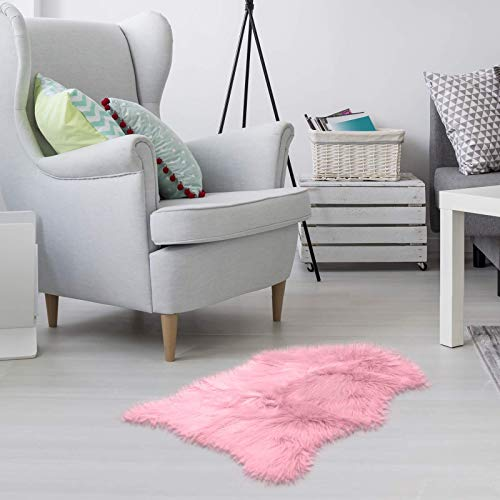 Faux Fur Sheepskin Rug – Light Pink, Furry Rugs for Vanity Seats Chairs Cover - Plain Shaggy Area Luxury Home Throw Plush Seat Pad, Bedroom, Kids Rooms, Living Room Faux Australian Rugs, 2ft x 3ft