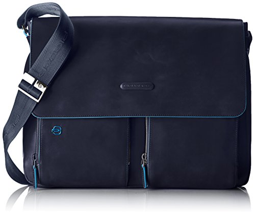Piquadro Flap Over Computer Messenger Bag with iPad Compartment, Dark Blue, One Size by Piquadro