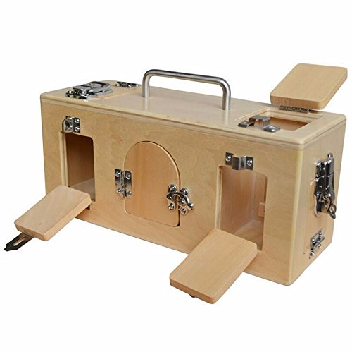 Original Montessori Material Wooden Lock Box Door Kids Basic Life Skills Educational Toy Preschool Teaching Aids
