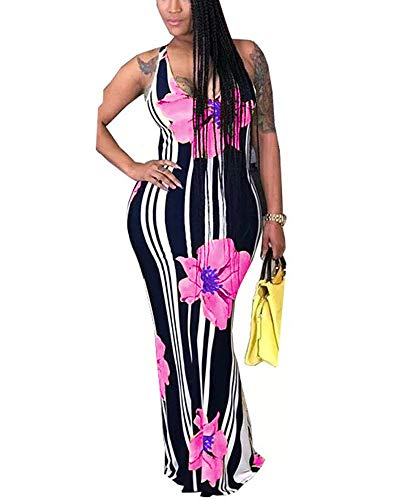- Womens Party Beach Vacation Floral Long Maxi Dress Pink 2XL
