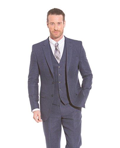 The Savile Row Company Savile Row Men's Navy Linen Slim Fit Suit Jacket 44