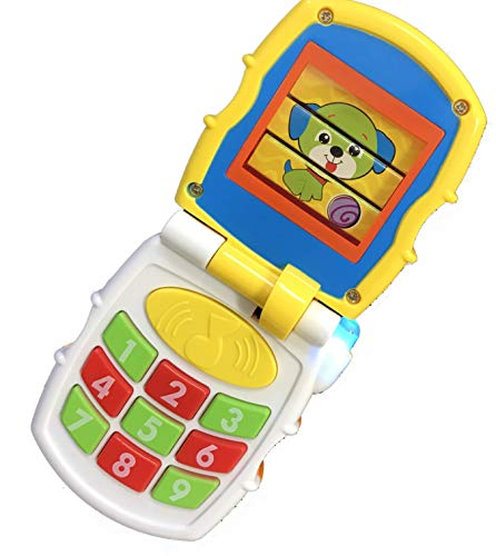 Talking Cell Phone Toy - Flip Cell Phone Toy | Greetings | Wide Variety of Sounds | Music and Lights | Easier to Grab | Toddler Toy for Boys and Girls | Battery Operated | Interactive Toy | Communicative Toy