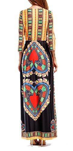 Largo Escote Dashiki Chyedas Africano Estampado Profundo En Negro Con Vestido Mujer V Para 5wnOq6