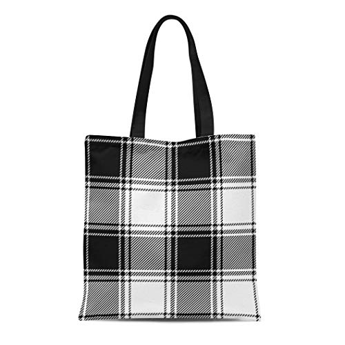 Semtomn Cotton Canvas Tote Bag Gingham Plaid Check Pattern in Black and White Retro Reusable Shoulder Grocery Shopping Bags Handbag Printed ()