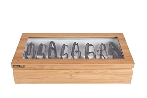 - OYOBox Maxi Luxury Eyewear Organizer, Lacquered Wood Box for Glasses + Sunglasses, Natural Bamboo