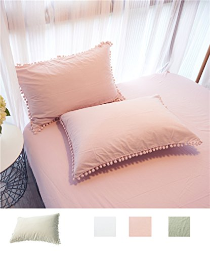 Pom Poms Pillow Cover Pillowcase Cotton Light Pink Queen Siz
