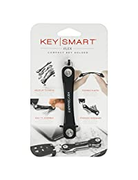 KeySmart Flex - Llavero compacto y organizador de llavero (2-8 llaves, negro)