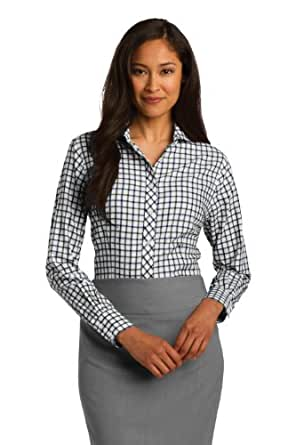 Red House Women's Checkered Dress Shirt, XXX-Large, Dark Green/Navy/White