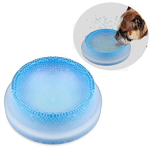 Powstro Pet Frosty Bowl Chilled Water Bowls Cooling Pet Frosty Bowl Keep Water Cool and Fresh 8'