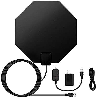 E-More Amplified HDTV Antenna, 1080P Digital HDTV Antenna, 50 Mile Range with Detachable Adjustable Amplifier USB Power Supply and 16.4ft Coax Cable