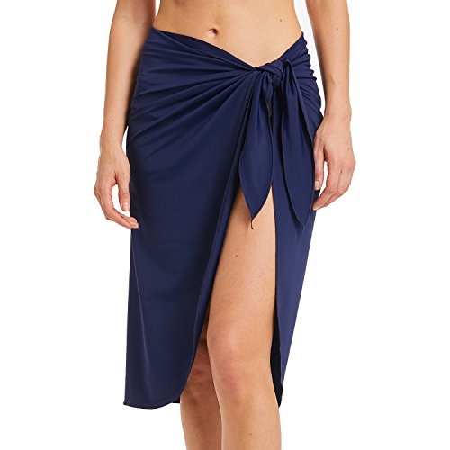 Sythyee Women's Sarong Wrap Beach Swimwear Nylon Cover Up Pareo Bikini Swimsuit Wrap Skirt Bathing Suit Nylon Long Navy