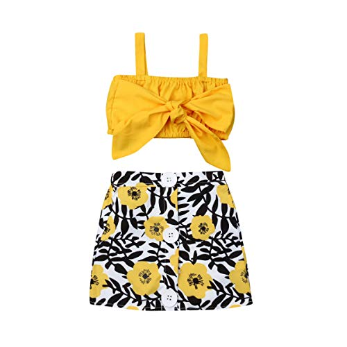 Skort Set Outfit - Toddler Baby Girl Sunflower Clothes 2pc Tieknot Strap Top+ Mini Skirt (90(1-2t), Yellow)