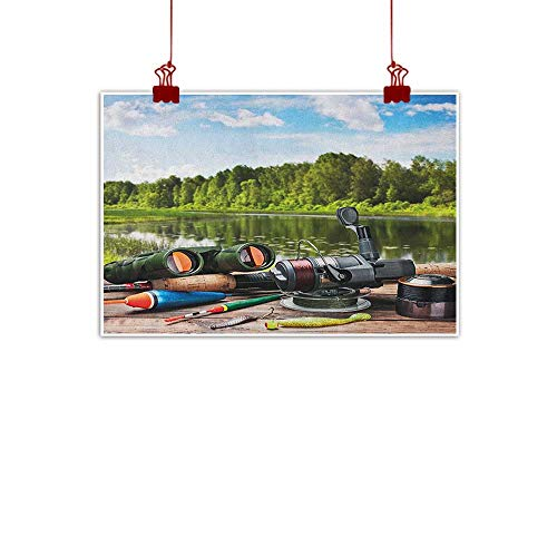 Sunset glow Decorative Music Urban Graffiti Art Print Hunting,Fishing Tackle on a Pontoon Lake in The Woods Trees and Greenery Freshwater Hobby, Multicolor 32