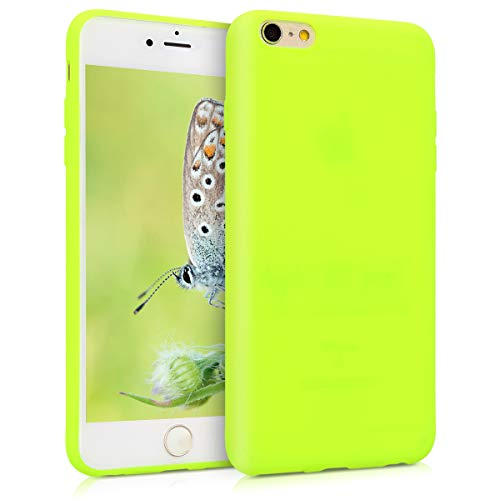 kwmobile TPU Silicone Case for Apple iPhone 6 Plus / 6S Plus - Soft Flexible Shock Absorbent Protective Phone Cover - Neon Yellow