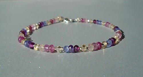 JP_Beads Pinkberry Gemstone Bracelet, Pink Sapphire Bracelet, Tanzanite Bracelet, Morganite Bracelet, Garnet Bracelet, Dainty Beaded Bracelet 3.5 mm