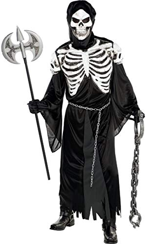 (Mens Creepy Spooky Crypt Keeper Skeleton Reaper Halloween Fancy Dress Costume Outfit M-XL)