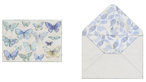 Punch Studio Window Boxed Set of 12 Blank Note Cards ~ Blue Flutter Butterflies 16717