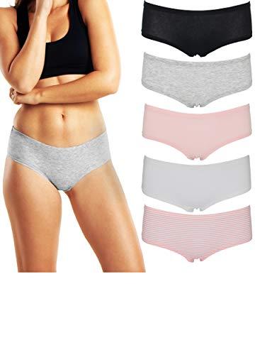 Boy Shorts Underwear Women, (5 Pack) Soft Cotton Panties Ladies Love
