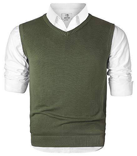 MOCOTONO Men's V-Neck Cotton Sleeveless Sweater Casual Vest Green Large