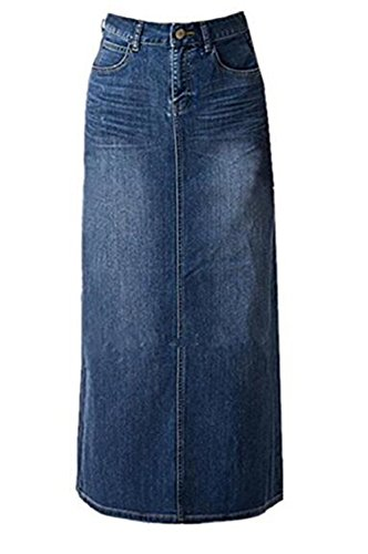 Split Denim Skirt - Women's Juniors Casual High Waist A-Line Split Blue Jean Denim Long Pencil Skirt
