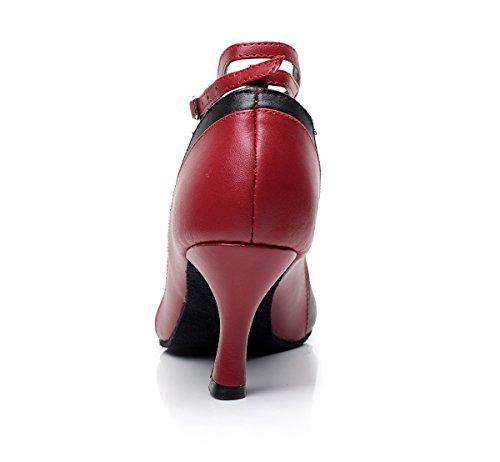 Tda Qj7016 Kvinna Strappy Läder Salsa Tango Balsal Latin Bröllopsfest Dansskor Röd