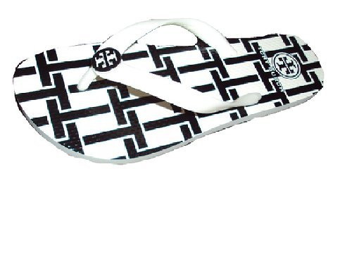 Tory Burch Reva Flip Flops Sandals Flat Rubber Style 90008651 (9 B(M) US, White T - Reva Burch