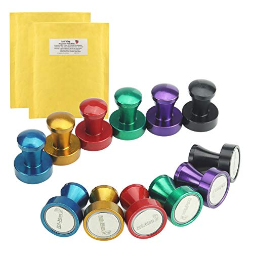 Ant Mag Magnetic Push Pins, Office Magnetic Hooks, Whiteboard Magnets with Rare Earth Neodymium for Office, Home, School, Classroom, Map or Refrigerator. 6 colors. Pack of 12.