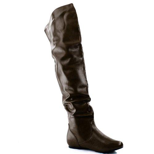 Nature Breeze Damen Overknee Slouchy Boots brauner Pu
