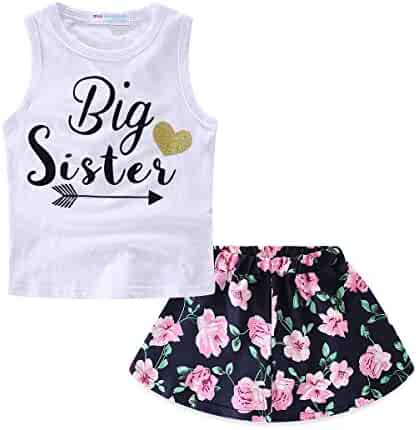 11d384b7c72 Mud Kingdom Girls Outfits Summer Holiday Floral Tank Tops and Skirts Clothes  Sets Chiffon