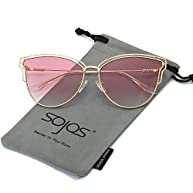 SojoS Womens Fashion Double Wire Flash Mirrored Lens Cateye Sunglasses SJ1049