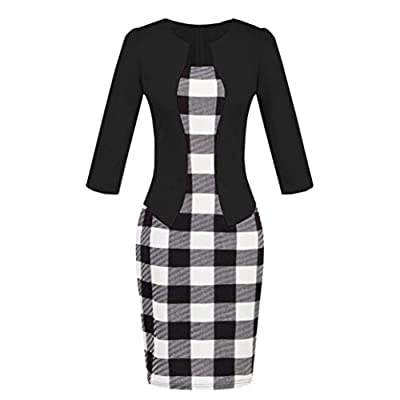 Sale! Teresamoon Women Colorblock Plaid Wear to Work Business Party Bodycon One-Piece Sash Dress